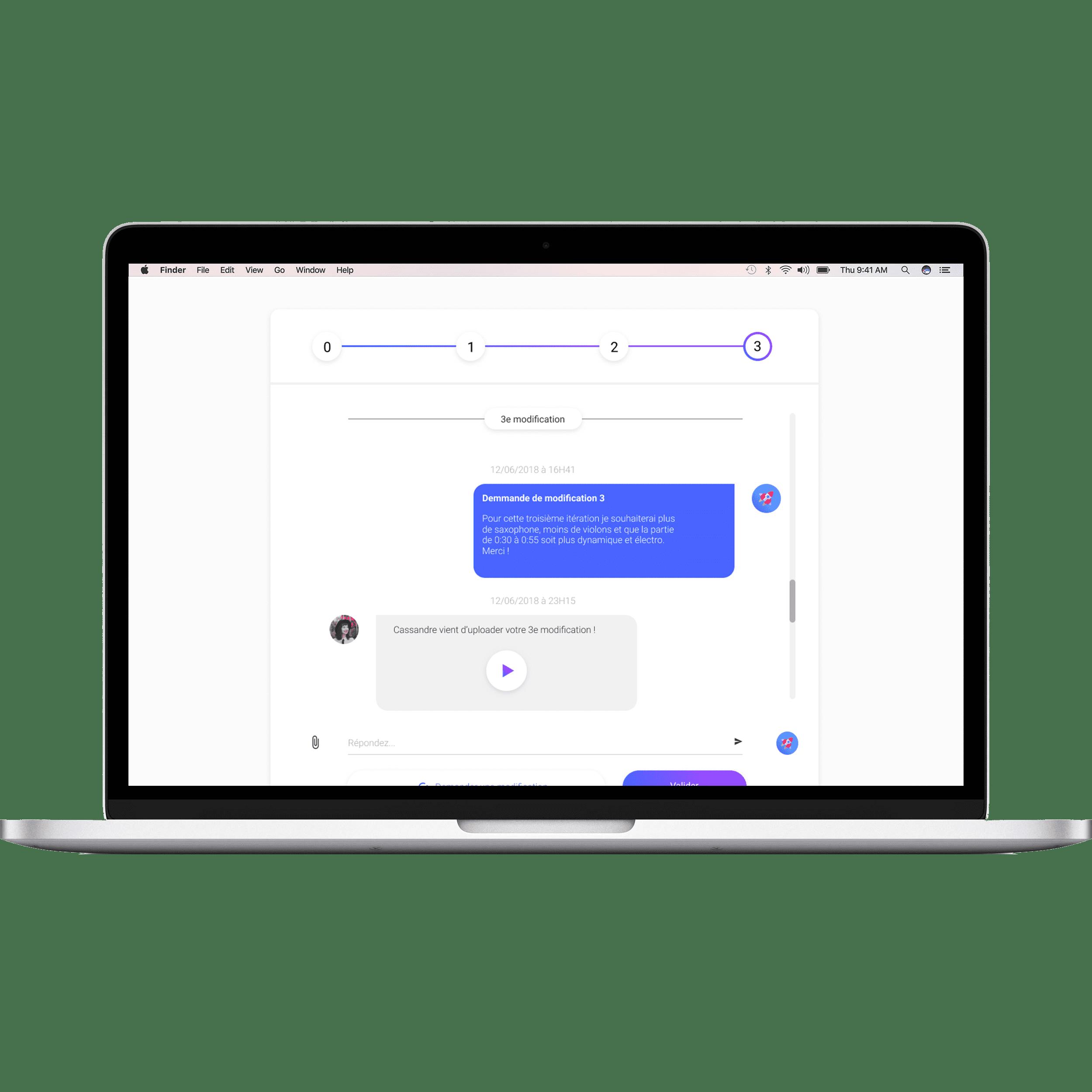 Vous disposez d'un espace simple et intuitif pour collaborer avec notre réseau de compositeur pour créer votre identité sonore dans les meilleurs conditions.