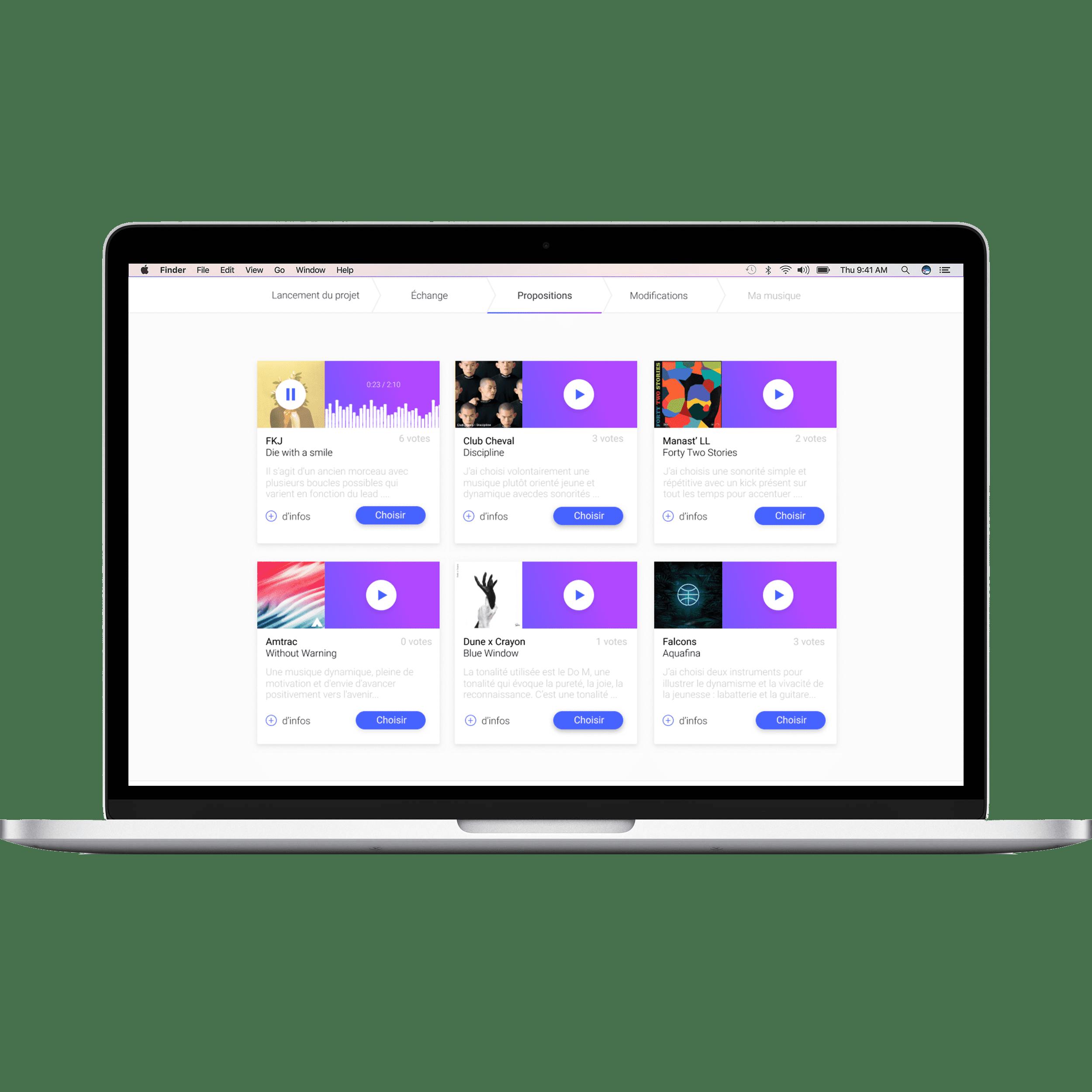 Retrouvez plusieurs propositions de créations musicales uniques sur votre dashboard