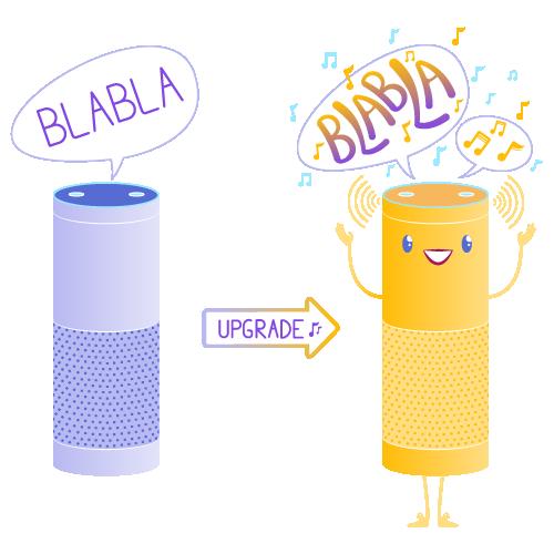 Plongez vos utilisateurs dans une expérience sonore unique sur Amazon Alexa, Google Home ou tout autre voicebot.